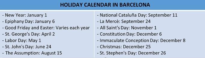 Calendario días festivos -Inglés