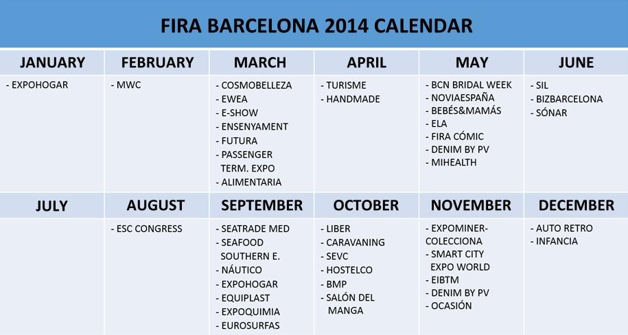 Fira Barcelona Calendario -Inglés